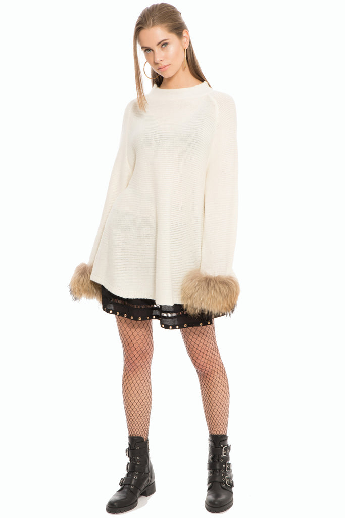 Cabaret Fur Cuff Sweater- White