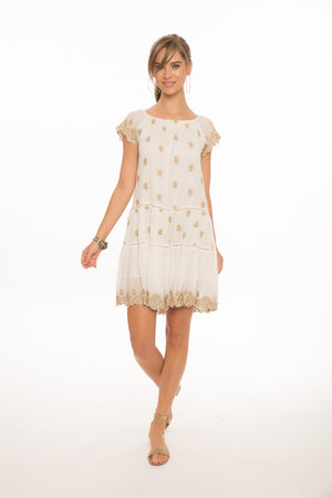 Ella Gold Embroidered Dress in White