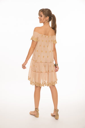 Ella Gold Embroidered Dress in Blush