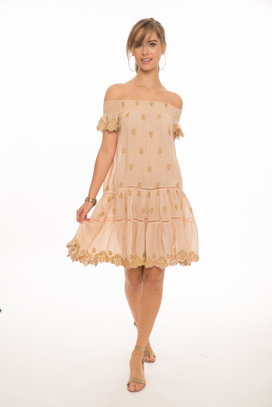 Ella Gold Embroidered Dress