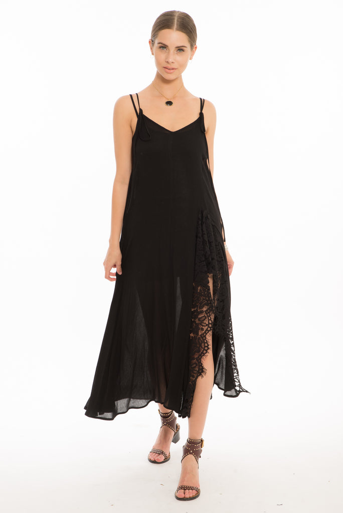 Laura Long Strappy Dress w Lace Trimmed Slit- Black
