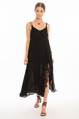1127 LN  Laura Maxi Sleeveless Dress w Lace Front Slit- O/S- Black
