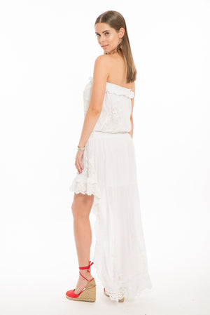 1147 VA Valencia Strapless Cinched Waist High Low Dress- White
