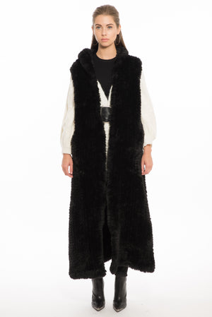 1151 JN Jane Long Faux Fur Vest- Black