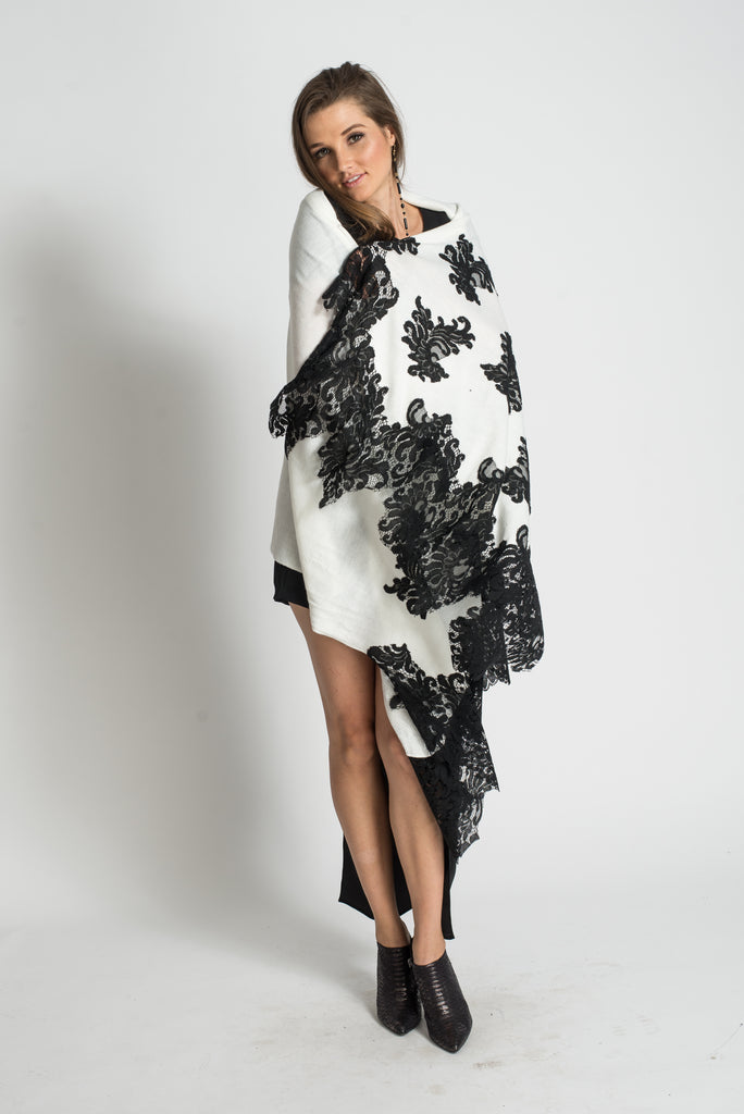 Kate Shawl Lace Embroidery - White/Black