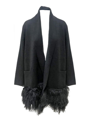 Denver Mongolian Cardi Coat in Black
