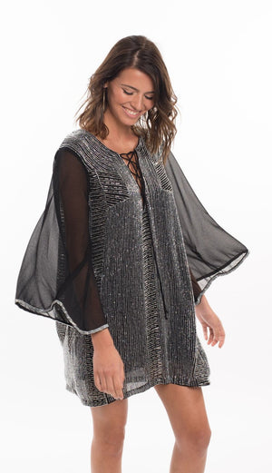 196 AN Avery Silver Beaded Tunic - Black