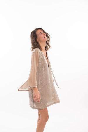 196 AV Avery Silver Beaded Tunic - Nude