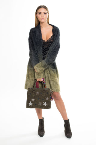 90757 DL Disco Star Faux Suede Handbag - Army Green