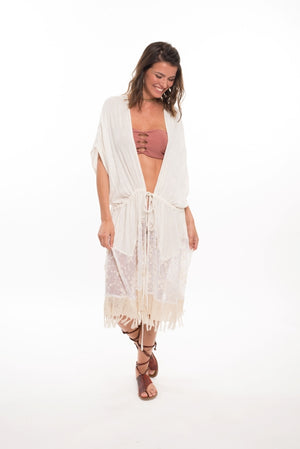588 NA- Nolita Vest w/ Sheer Detail and Fringe