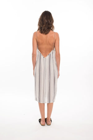 827 FN- Faustine Loose Slip Dress- White/Black