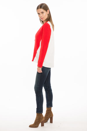 874 MD March Two-Tone School Sweater- White/Red