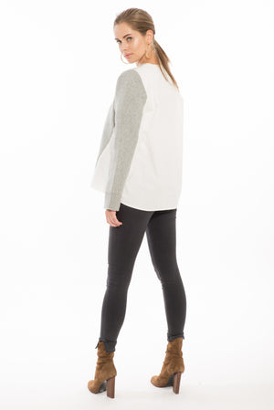 874 MR March Two-Tone School Sweater- White/Grey