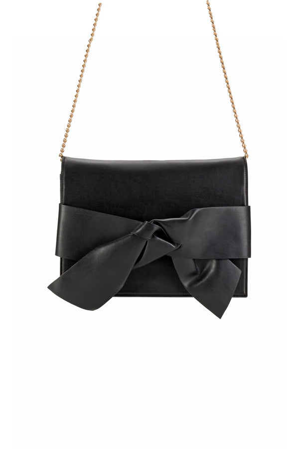 Bethany Bow Clutch - Black Faux Leather ... 92d3a19830