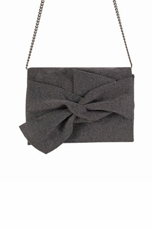 Bethany Bow Clutch - Grey felt