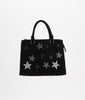 90757 DN Disco Star Faux Suede Handbag - Black