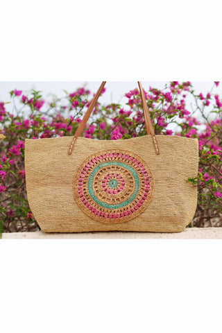 90937 YV-Yogi Straw Bag w Crochet Design