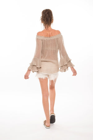 987 CV- Clancy Gauze Top w Embroidery & 2-Tier Ruffled Sleeves