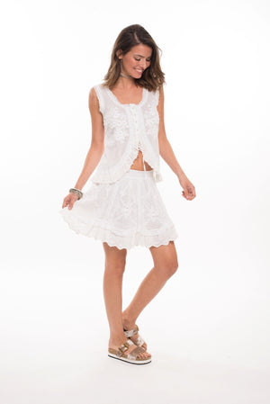 978 CA- Cannes Top with Embroidery and Ruffle Trim- White