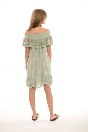 688 EL Entice Smocked Neckline Crochet Ruffle Dress- O/S- Sage