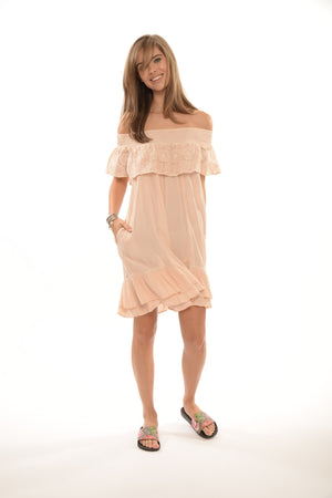 688 EG Entice Smocked Neckline Crochet Ruffle Dress- O/S- Blush