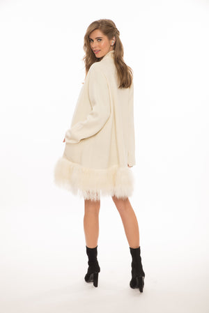 Denver Mongolian Cardi Coat in White