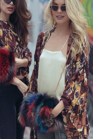 Elmo Cuff Fur Bag- Multi