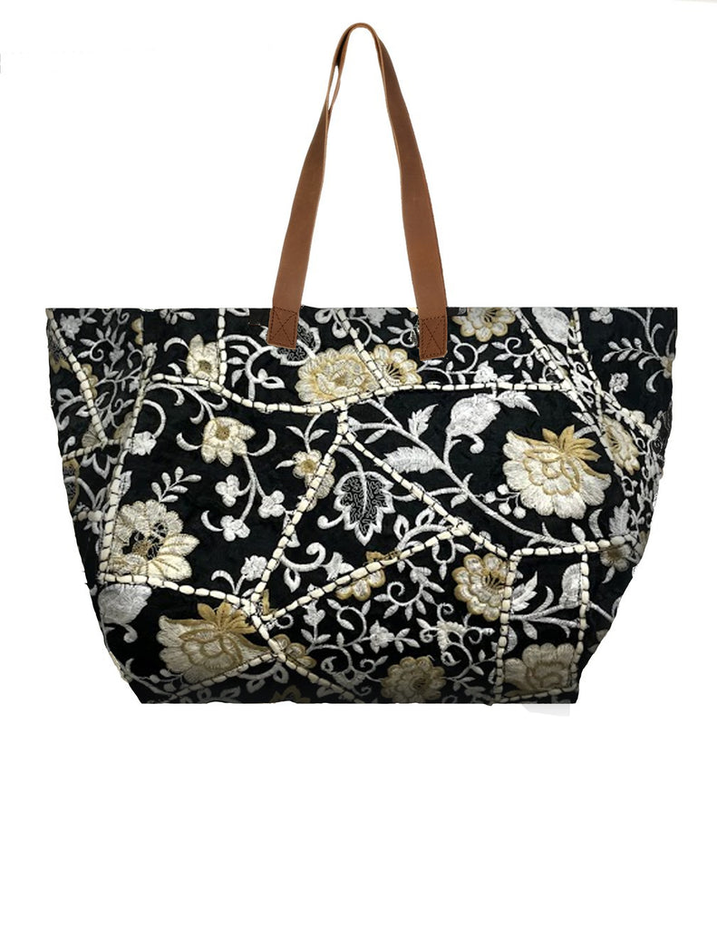 Eli Floral Embroidered Tote Bag- Black and White