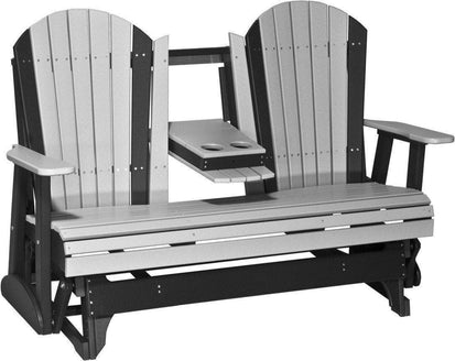 LuxCraft Recycled Plastic 5u0027 Adirondack Glider Chair With Flip Down Center  Console   Rocking Furniture