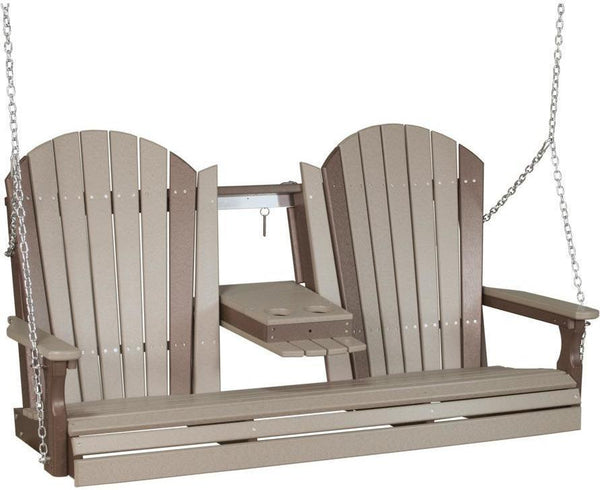 LuxCraft Adirondack 5ft. Recycled Plastic Porch Swing With Flip Down Center  Console