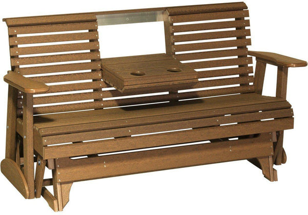 Luxcraft poly rollback 5 39 glider with flip down center console rocking furniture - Luxcraft fine outdoor furniture ...