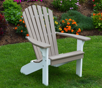 A L Furniture Co Amish Made Poly Fanback Adirondack Chair W White F