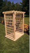 A & L FURNITURE CO. 5' Lexington Pressure Treated Pine Arbor & Deck  - Ships FREE in 5-7 Business days - Rocking Furniture