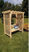 A & L FURNITURE CO. 5' Covington Pressure Treated Pine Arbor & Swing  - Ships FREE in 5-7 Business days - Rocking Furniture