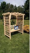 A & L FURNITURE CO. 5' Cambridge Pressure Treated Pine Arbor & Swing  - Ships FREE in 5-7 Business days - Rocking Furniture