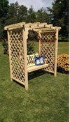A & L FURNITURE CO. 5' Jamesport Pressure Treated Pine Arbor & Swing  - Ships FREE in 5-7 Business days - Rocking Furniture