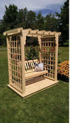 A & L FURNITURE CO. 6' Lexington Pressure Treated Pine Arbor w/ Deck & Swing  - Ships FREE in 5-7 Business days - Rocking Furniture