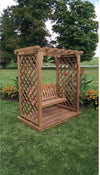 A & L FURNITURE CO. 5' Covington Pressure Treated Pine Arbor w/ Deck & Swing  - Ships FREE in 5-7 Business days - Rocking Furniture