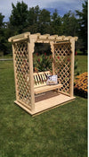 A & L FURNITURE CO. 6' Covington Pressure Treated Pine Arbor w/ Deck & Swing  - Ships FREE in 5-7 Business days - Rocking Furniture