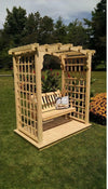 A & L FURNITURE CO. 6' Cambridge Pressure Treated Pine Arbor w/ Deck & Swing  - Ships FREE in 5-7 Business days - Rocking Furniture