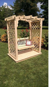 A & L FURNITURE CO. 5' Jamesport Pressure Treated Pine Arbor w/ Deck & Swing  - Ships FREE in 5-7 Business days - Rocking Furniture