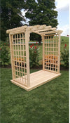 A & L FURNITURE CO. 4' Cambridge Pressure Treated Pine Arbor & Deck  - Ships FREE in 5-7 Business days - Rocking Furniture