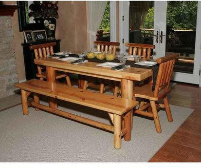 Moon Valley Rustic Cedar Kitchen Table Set With 1 Table, 2 Chairs, 2  Benches - Lead time 6 to 8 Weeks