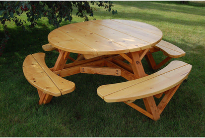 Moon Valley Rustic Cedar Inch Round Table With Attached Benches - 56 inch round table
