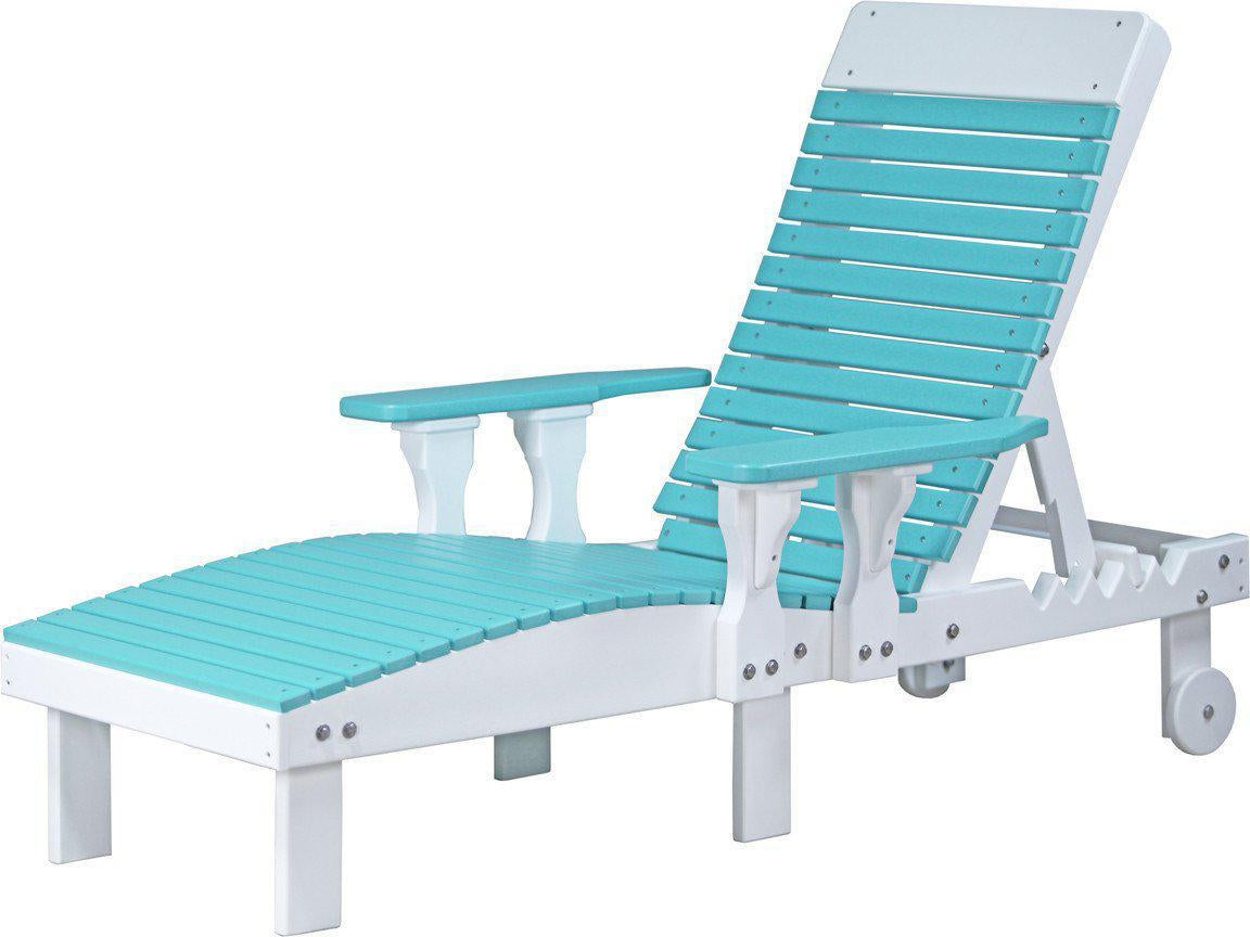 Plastic outdoor lounge chairs - Luxcraft Recycled Plastic Lounge Chair Luxcraft Aruba Blue On White