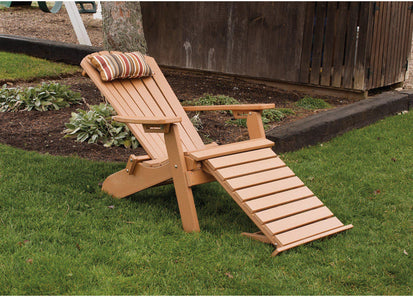 Folding Adirondack Chair With Pullout Ottoman All Weather