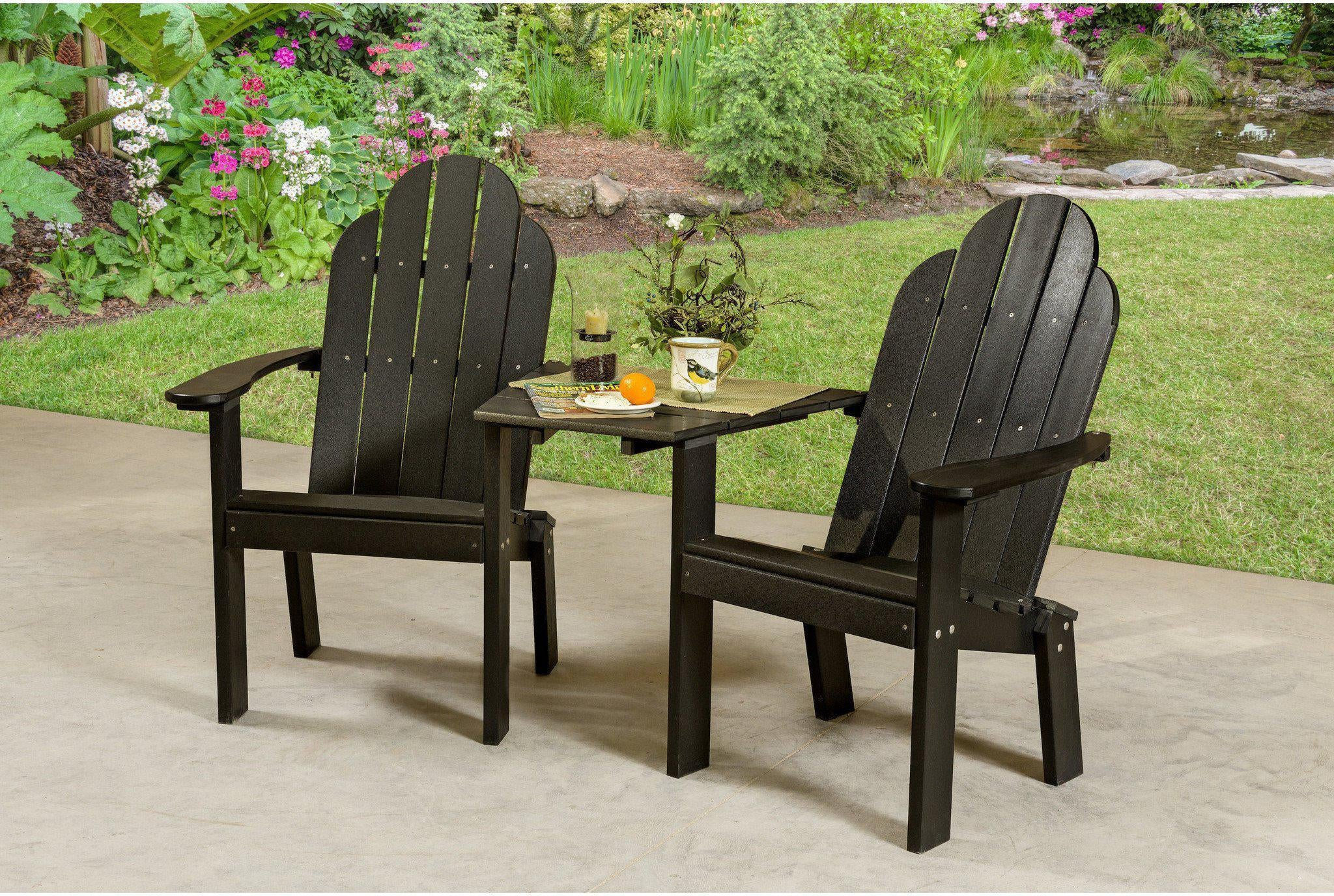 Wildridge Recycled Plastic Classic Deck Chair Tete A Tete   Black Wood