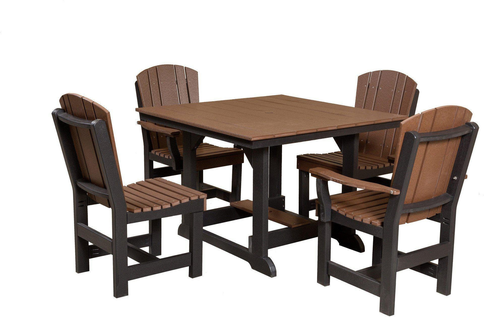 Black outdoor dining table - Wildridge Recycled Plastic Heritage 5 Piece Square Outdoor Dining Set Tudor Brown Black Frame