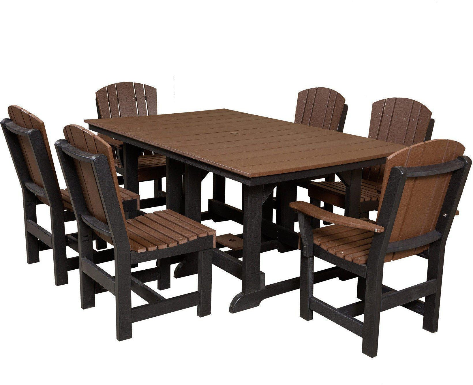 Wildridge Heritage 7 Piece Rectangular Patio Dining Set   Tudor Brown Black  Frame