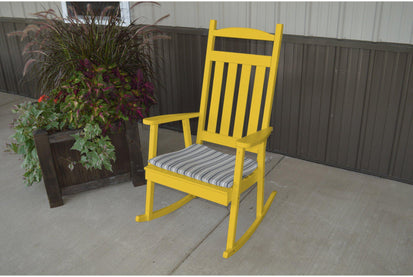 A U0026 L Furniture Yellow Pine Classic Porch Rocking Chair   Ships FREE In 5 7  Business Days   Rocking Furniture